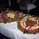 appitizer spread during wedding reception at Giuseppes